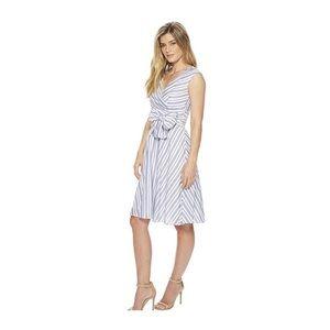 Playful Self Tie Dress - Blue & White Striped